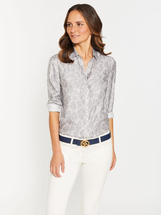 Lois Silk Shirt in Desert Scale
