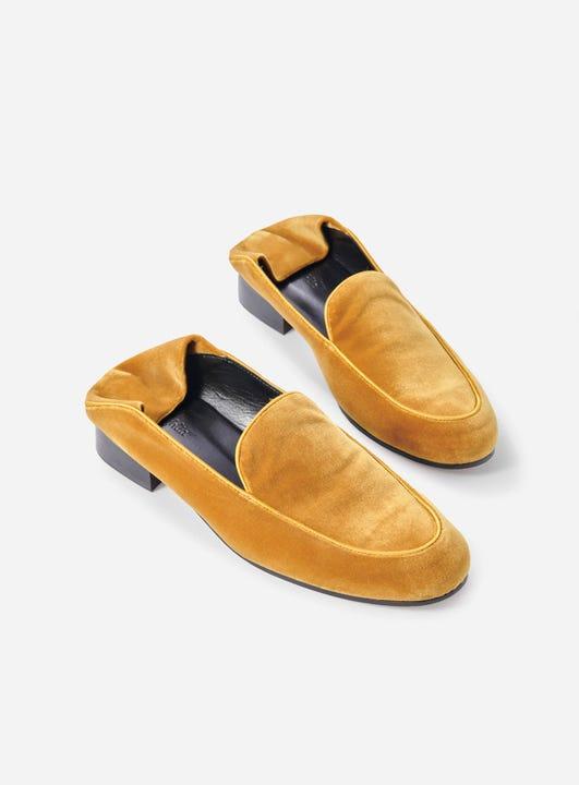 J.McLaughlin Luna loafer in mustard made with velvet.