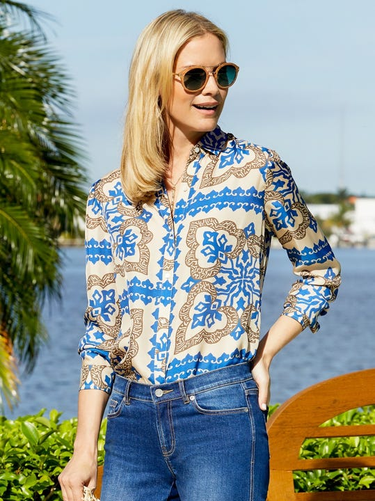 Lois Silk Shirt in Pinwheel Patch
