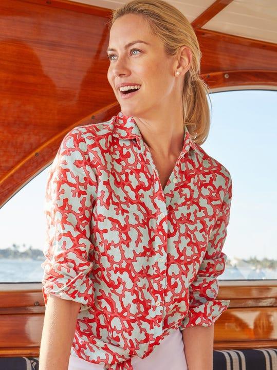 Lois Linen Shirt in Brisbane Coral