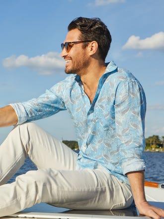 Gramercy Classic Fit Linen Shirt in Mini Ibis Crest