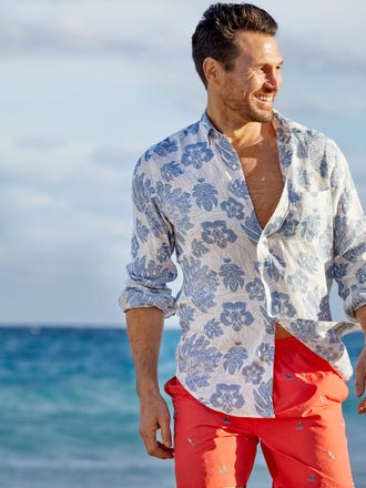 Gramercy Classic Fit Linen Shirt in Floral