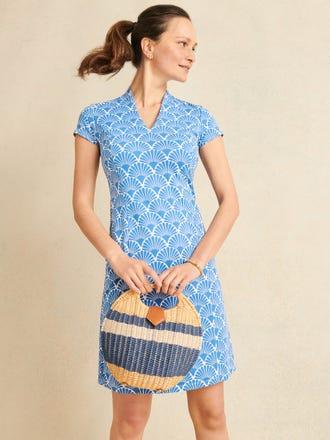 Ivana Cap Sleeve Dress in Deco Shell