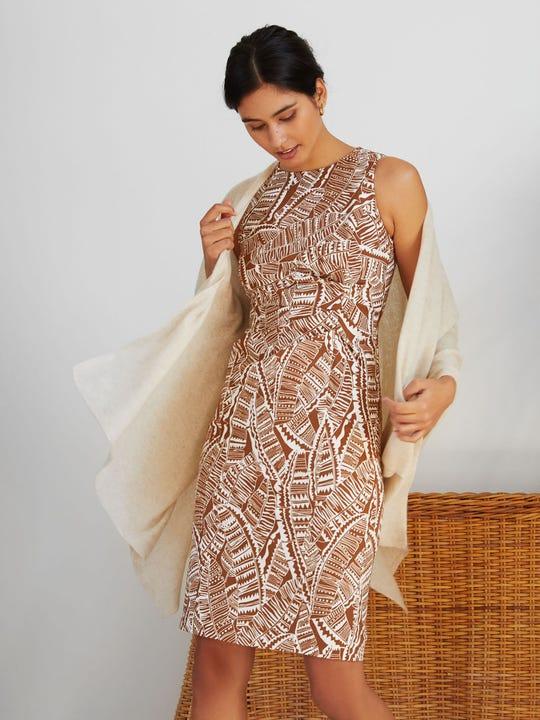 Anne Dress in Geo Palm