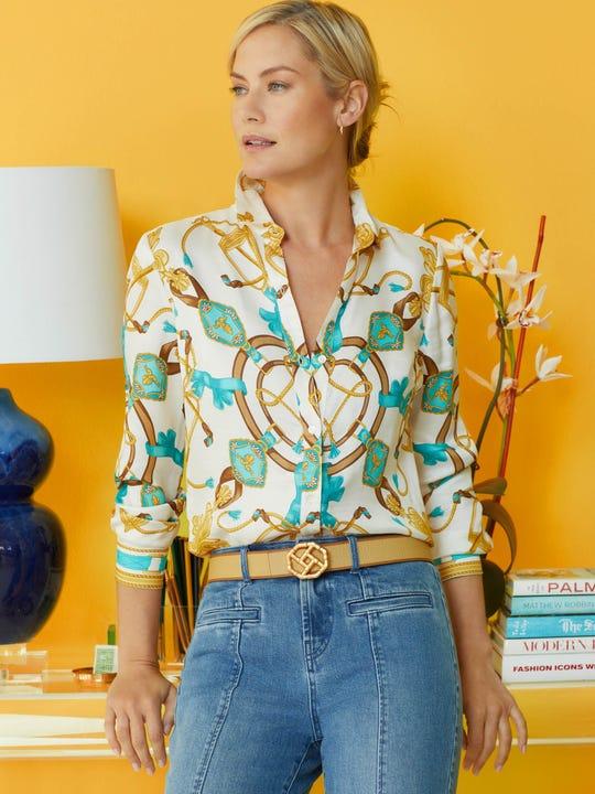 Lois Silk Shirt in Neo Sable Equestrian