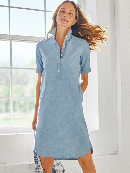 Arissa Short Sleeve Chambray Dress
