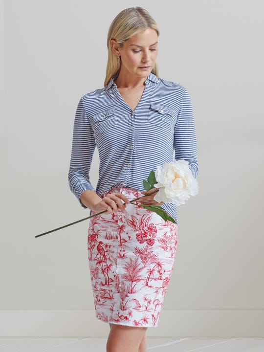 Richmond Denim Skirt in Heron Toile