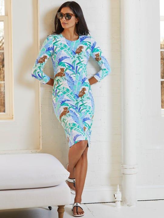 Sophia Dress in Cougar Palm