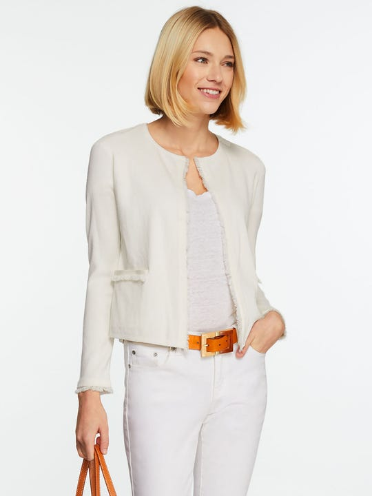 Model wearing J.McLaughlin Marie Cardigan in white made with cotton fabric.