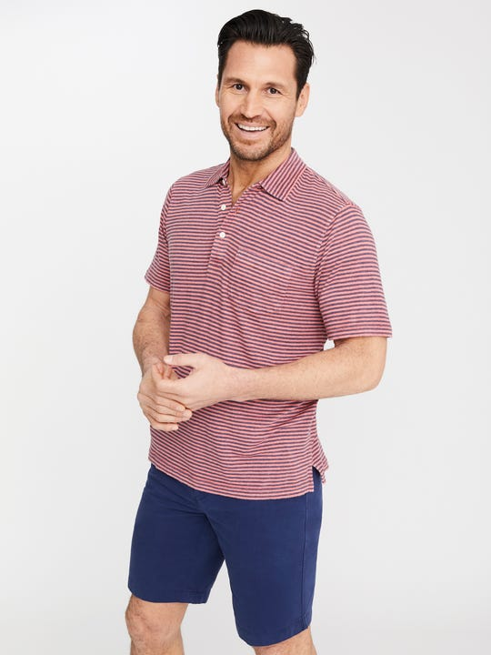 Marlon Linen Polo in Stripe