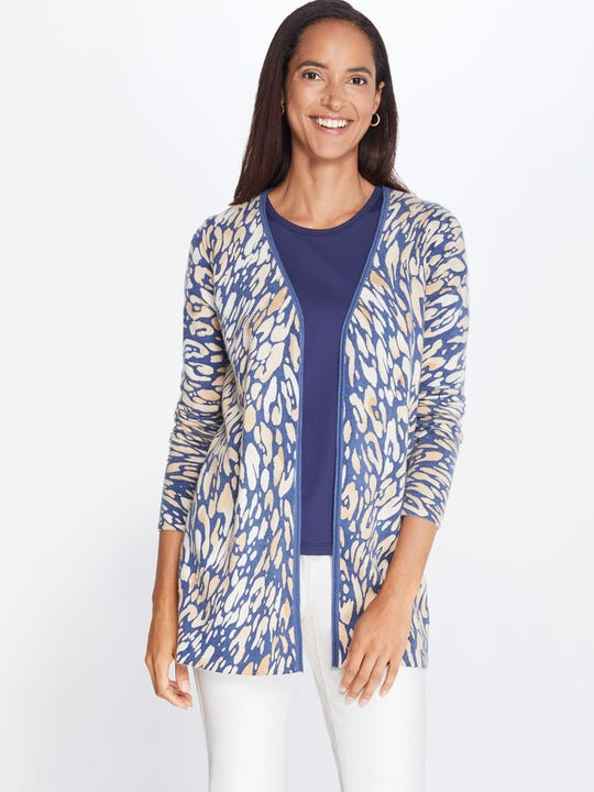 Napa Cashmere Cardigan in Watercolor Panthera