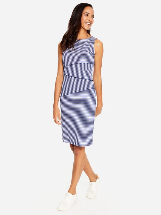 Nicola Sleeveless Dress in Stripe