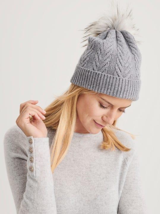 Riley Cashmere Hat with Pom Pom