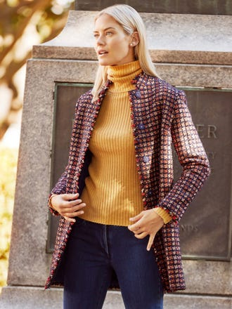 Walden Coat in Metallic Tweed Houndstooth