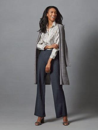 Lois Silk Shirt in Royal Link Stripe