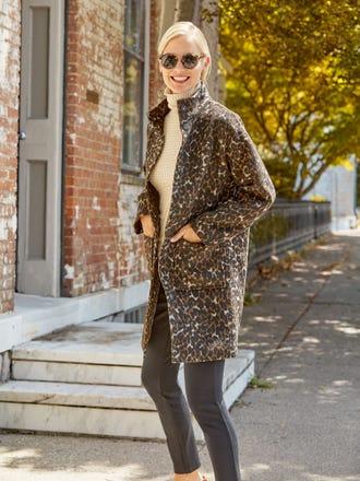 Thelma Coat in Cheetah Jacquard