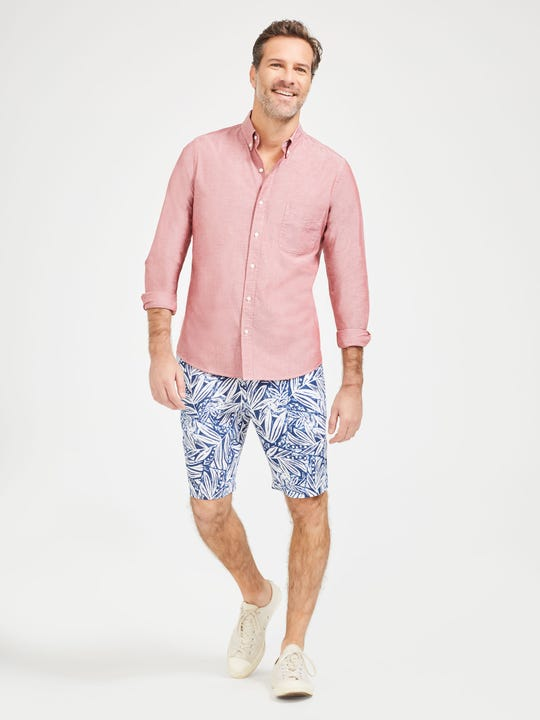Oliver Linen Shorts in Willow Bluff