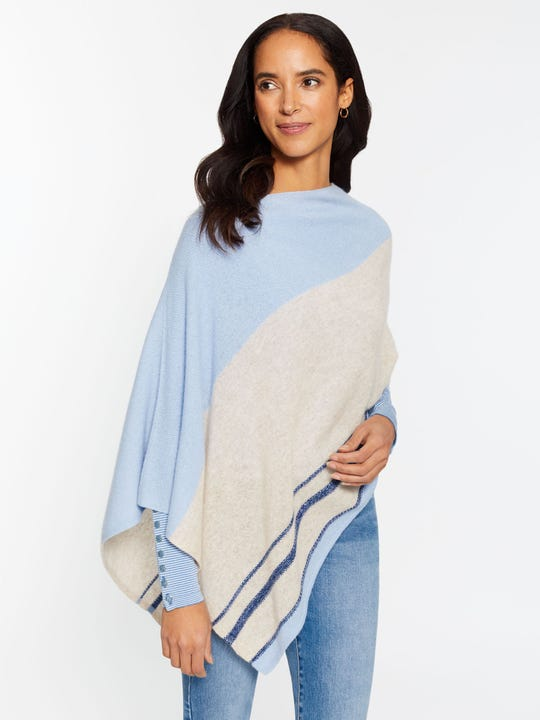 Bridget Cashmere Poncho in Textured Stripe