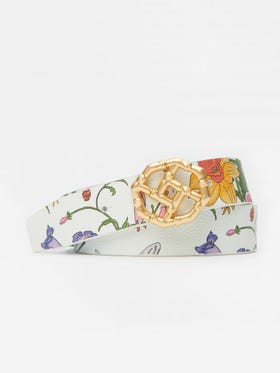Ruby Reversible Leather Belt in Dragonfly Garden