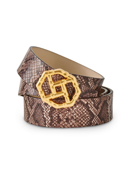 Ruby Leather Belt in Python