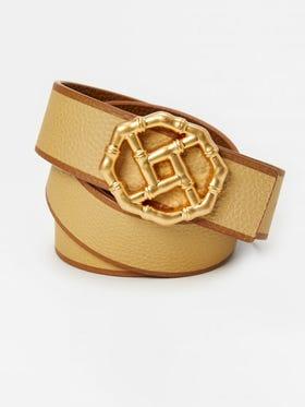 Ruby Reversible Leather Belt in Stripe