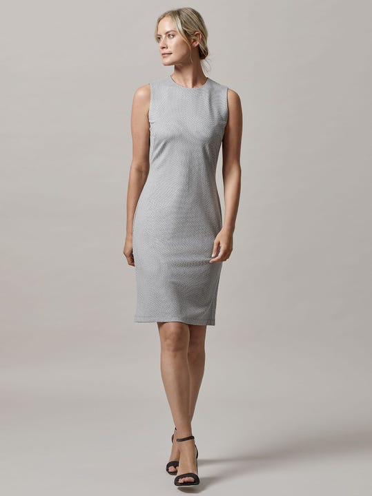 Devon Sleeveless Dress in Birdseye