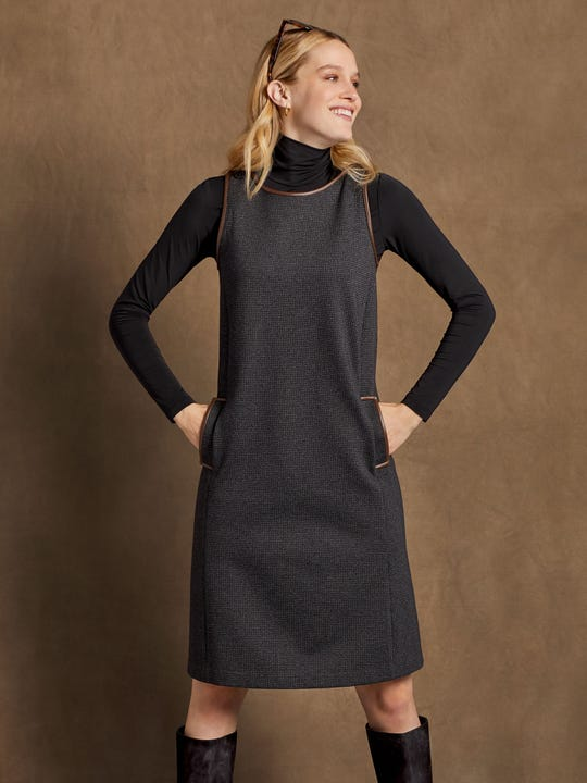 J.Mclaughlin Dinah Dress in black made in compact bainbridge fabric.