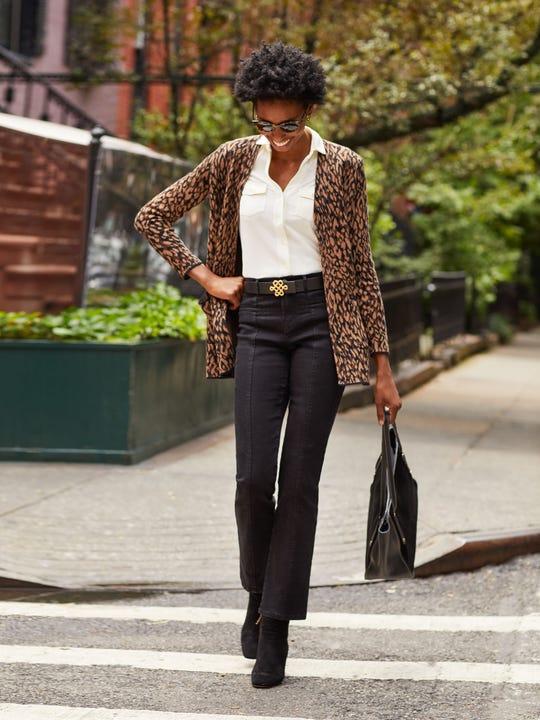 J.Mclaughlin model in Emmie Jean in Black  made in denim fabric.