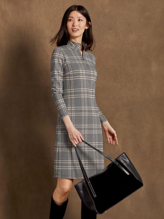 J.MclaughlinBedford Dress in Houndstooth Plaid Jacquard made in bainbridge fabric.
