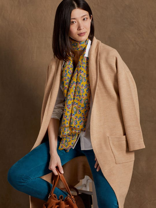 J.Mclaughlin Marjorie Cardigan in heather camel made in cashmere fabric.