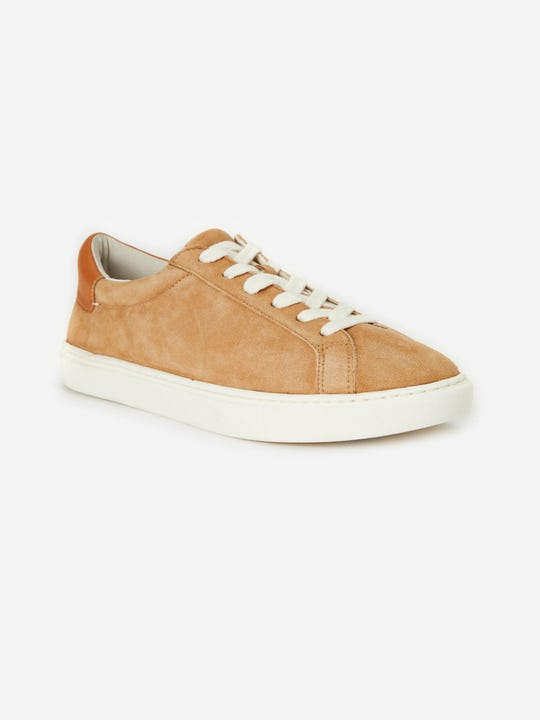J.Mclaughlin Angqelique Suede sneaker in caramel brown  made in suede and leather fabric.