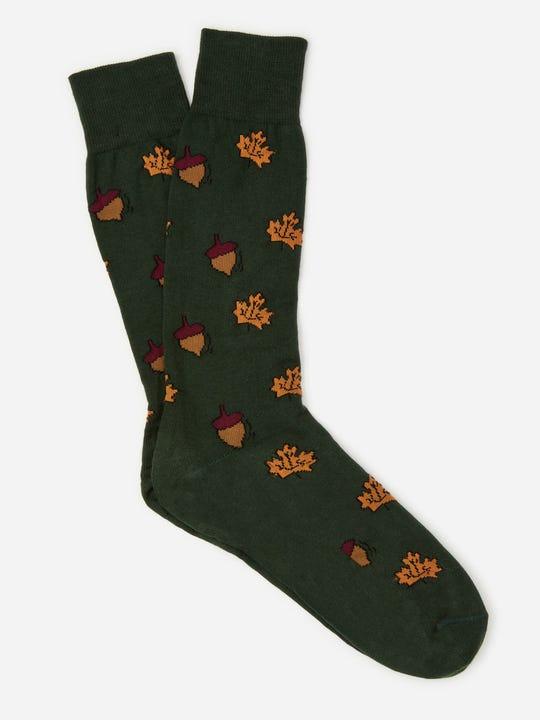 J.Mclaughlin mens socks in acorn in dark green in cotton fabric.