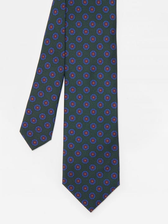 Italian Silk Tie in Circle Floral