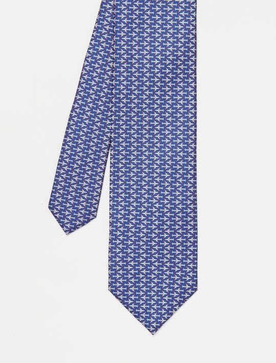 Italian Silk Tie in Micro Airplane