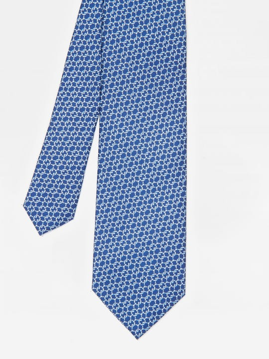 Italian Silk Tie in Geo Link Chain