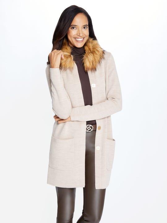 Veronique Cardigan with Faux Fur Collar