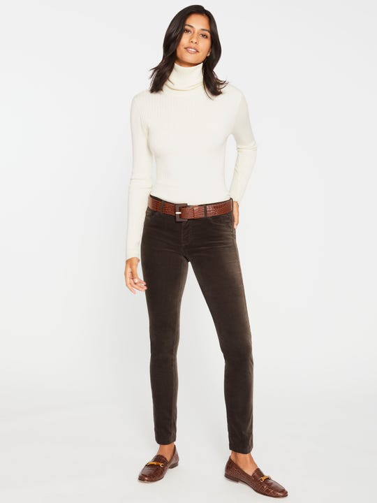 J.Mclaughlin Watson velvet jeans in olive made in cordoury fabric.
