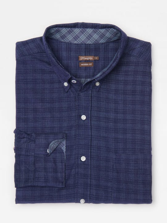 Westend Modern Fit Corduroy Shirt in Plaid