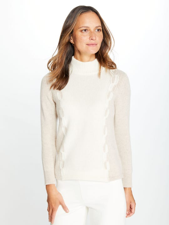 Wren Cashmere Turtleneck in Colorblock