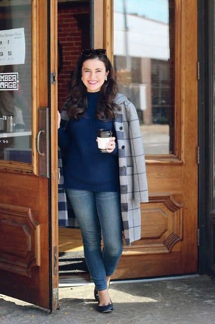 smiling woman and coffee shop